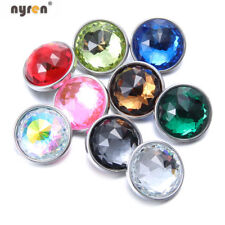 9pcs/lot 18mm Snap Button Crystal Glass Charms Multi Color Snap Jewelry HM098