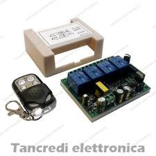 Scheda Ricevente Ricevitore 220V 230V 433 Mhz 4 Relè Canali Ch con Telecomando