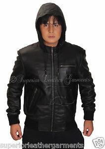 Men's Black Hooded Super Leather Bomber Jacket Hoody