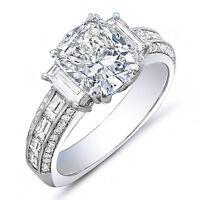2.22 Ct. Cushion Cut, Baguette & Round Diamond 14K Engagement Ring F,VS1 GIA