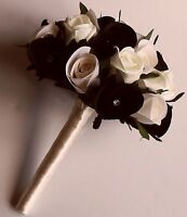 Rose Silk Ivory Black  and Foam  Wedding Bride Bridesmaids Crystal Bouquet Posy