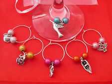Set of 6 Handmade Mixture Wine Glass Charms by Libby's Market Place - FREE P&P