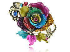 Colorful Enamel Paint Crystal Rhinestone Rose Flower Bracelet Bangle S0390