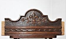 Solid architectural gothic fleur de lis pediment Antique french salvaged crest 2