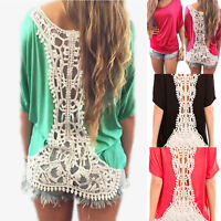 Women Summer Batwing Sleeve T-shirt Lace Crochet Hollow Shirts Beach Top Blouse