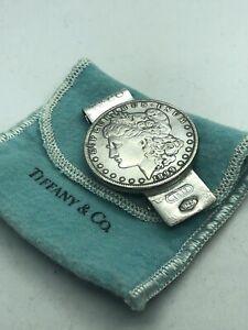 1837 TIFFANY CO STERLING SILVER 1899 MORGAN DOLLAR  MONEY CLIP + Bag
