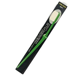 Vintage 80s Reach Plus Toothbrush Green Long Head Soft Bristles Movie Prop Retro