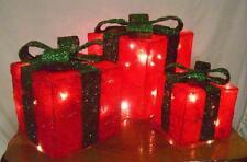 Enchufe en Conjunto de 3 cajas de regalo de sisal Crema Interior 40 Luces 30 cm Rojo