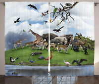Wildlife Curtains Tropic Animal Collage Window Drapes 2 Panel Set 108x84 Inches