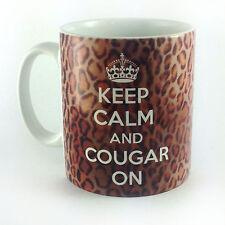 KEEP CALM AND COUGAR ON GIFT MUG CUP WORK PRESENT LEOPARDPRINT COUGARPRINT