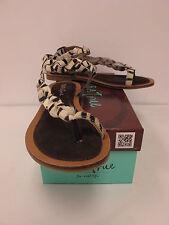 DIBA TRUE Womens PINCH HIT Toe Ring Dark Brown/White Zebra Sandals US 6M (57718)