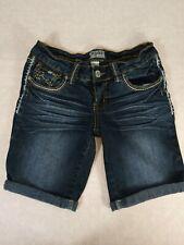 MUDD Junior's Dark Wash Low Rise Cuffed Hem Long Stretch Jean Shorts size 7