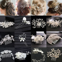 Pearl Flower Crystal Hair Pins Clips Bridesmaid Side Comb Bridal Wedding Jewelry