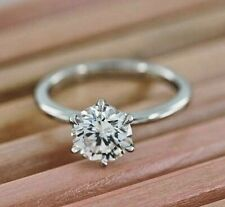 Ring 14k White Gold Over 2.50Ct Excellent Cut Moissanite Engagement Solitaire