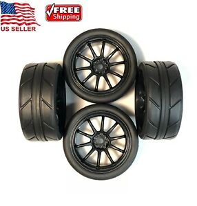 4  1/10 On Road RC Touring Car Soft Black Wheels Rims Tires 1.9in 12mm Hex W28mm