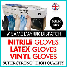 100 x Clear Blue Black Latex Nitrile or Vinyl Disposable Gloves Powder Free S-XL