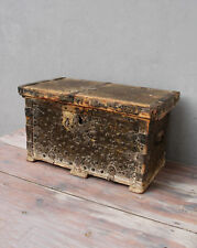 Vintage Wooden Chest Trunk Footlocker 1910's - 1930's Shabby Cottage Chic Rustic