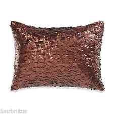 Kenneth Cole Dream Oblong Decorative Pillow Cooper Sequin Brown Bronze Metallic