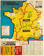 Original Double-Sided Official Tour de France Map Cycling 1961 Sport Poster