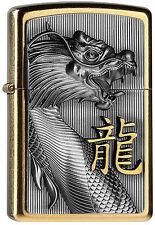 zippo   Gravé Dragon  et signe chinois, gold  avec ça recharge, Collection ,