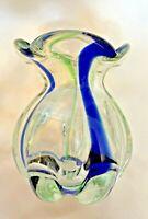 "Hand Blown Glass Vase 4"" Blue Green Swirl Leaded Flower Contemporary Art"