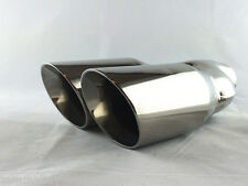 Universal Staineless Steel Twin Exhaust TIP ID60mm OD:2*75mm