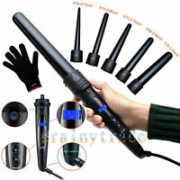 Professional LCD 2-IN-1 Curling Iron Wand Set w/ Temp Control Ceramic Tourmaline