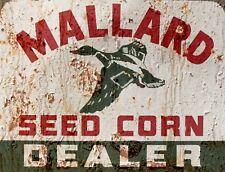 """TIN SIGN """"Mallard Seed Corn """" Farm Art Deco Garage Wall Decor"""