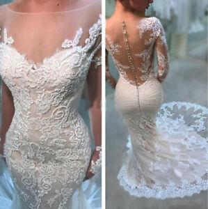 Long Sleeve Appliques Mermaid Wedding Dresses Trumpet Illusion Lace Bride Gowns