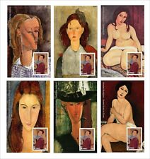 AMEDEO MODIGLIANI PAINTINGS ART 18 SOUVENIR SHEETS MNH UNPERFORATED