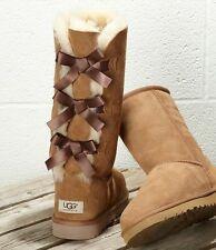 UGGS Ugg Bailey Bow II Tall Chestnut Brown Leather Shearling Boots Mid Calf 6