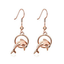 "18K Rose Gold Plated Earrings Drop Dangle  Fish Hook Dolphin .52"" L192"