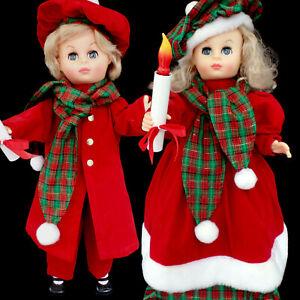 ANIMATED CHRISTMAS BOY & GIRL FIGURE SET / LIGHT & MOTION / TAIWAN / SET OF 2