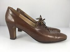 Salvatore Ferragamo Women US 7 Brown Leather Reptile Emboss Lace-Up Oxford Pumps