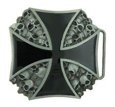 Black Cross with Skull Head Metal Belt Buckle