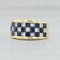 2.50ctw Blue Sapphire Diamond Checkerboard Ring 18k Yellow Gold Size 6