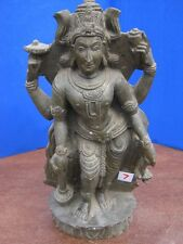 Antique Old Rare Hand Carved Stone Collectible Religious Hindu God Vishnu Statue