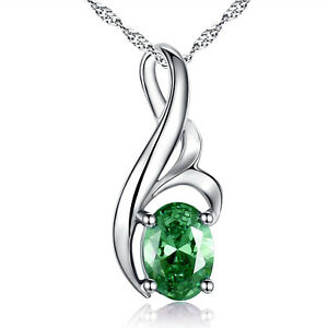 Women Simulated Emerald Oval Cut Pendant Necklace 925 Sterling Silver w/ Chain