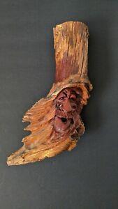 "Vintage Hand Carved Signed Wood Spirit Old Man Face with Hat Tree Sculpture 10"""