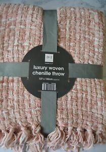 Luxury Woven Chenille Throw in Blush Pink or Grey with White - 127x152cm Large