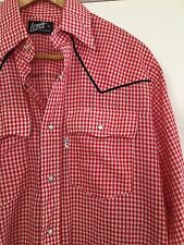 VTG Men's Shirt LEVIS Sz MED Western Rockabilly Gingham Red White Checked Snap