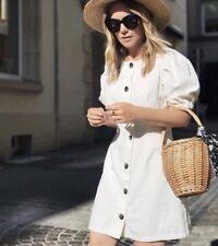 ZARA SS18 Linen Blend Puff Sleeve Button Down Mini Dress Off White L XL XXL