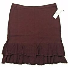 American Living Sweater Knit Skirt Women's Size Large Dark Maroon Ruffle Hem NWT