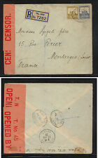 Palestine  large cover registererd to Frace, large red censor tape 1939   MS0824