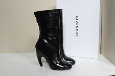 New Givenchy Black Leather Curve Heel Tall Boot Shoes sz 6 / 36