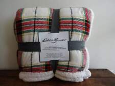 EDDIE BAUER Ultra Soft SHERPA Red Green PLAID FLEECE KING Cabin BLANKET