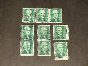 9~ THOMAS JEFFERSON 1968? ONE CENT STAMPS, COIL ISSUES AND GRRREN LINES ~ NICE