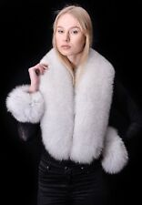 Saga Furs Natural White Blue Fox Fur Handmade Collar Scarf Boa Shawl + Cuffs