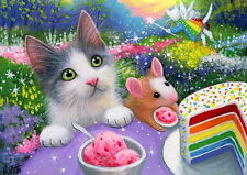 Kitten cat mouse rainbow birthday fairy fantasy OE aceo print of painting art