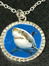 """Great White Shark Charm Tibetan Silver with 18"""" Necklace"""